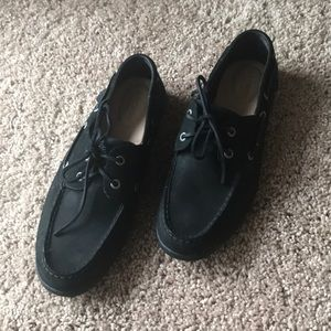 Black Suede and Canvas Sperry Top-Siders; Size 10